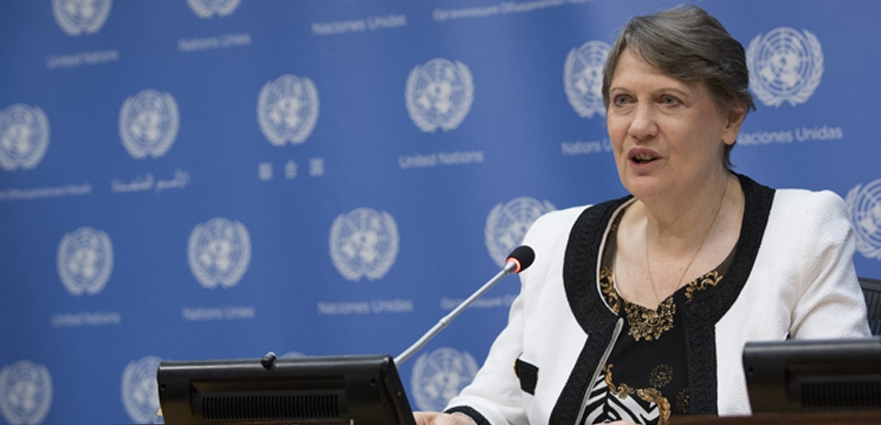 UNITED NATIONS, NEW YORK CITY, NY, UNITED STATES - 2015/09/18: Helen Clark, Administrator of the United Nations Development Programme (UNDP) and candidate for the job of UN Secretary General 2016 during a Press briefing on the launch of the Millennium Development Goal (MDG) Gap Task Force Report 2015 today at the United Nations Headquarters in New York City. (Photo by Luiz Rampelotto/Pacific Press/LightRocket via Getty Images)